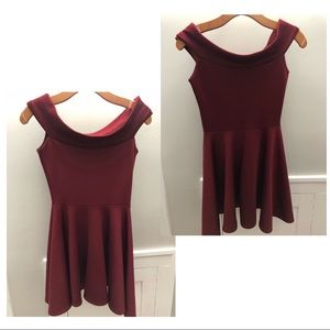 Maroon fit and flare boohoo dress